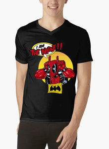 Deadpool Half Sleeves V-Neck T-shirt - RHIZMALL.PK Online Shopping Store.