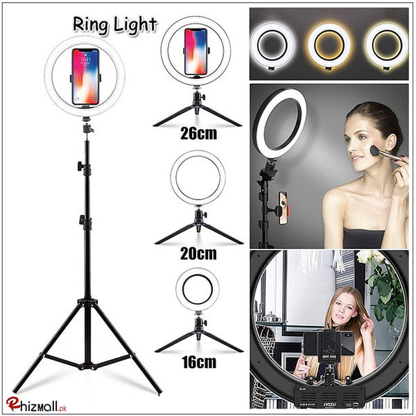 Selfie Ring Light with or without Tripod Stand & Cell Phone Holder for Live Stream Circle Lighting Ringlights