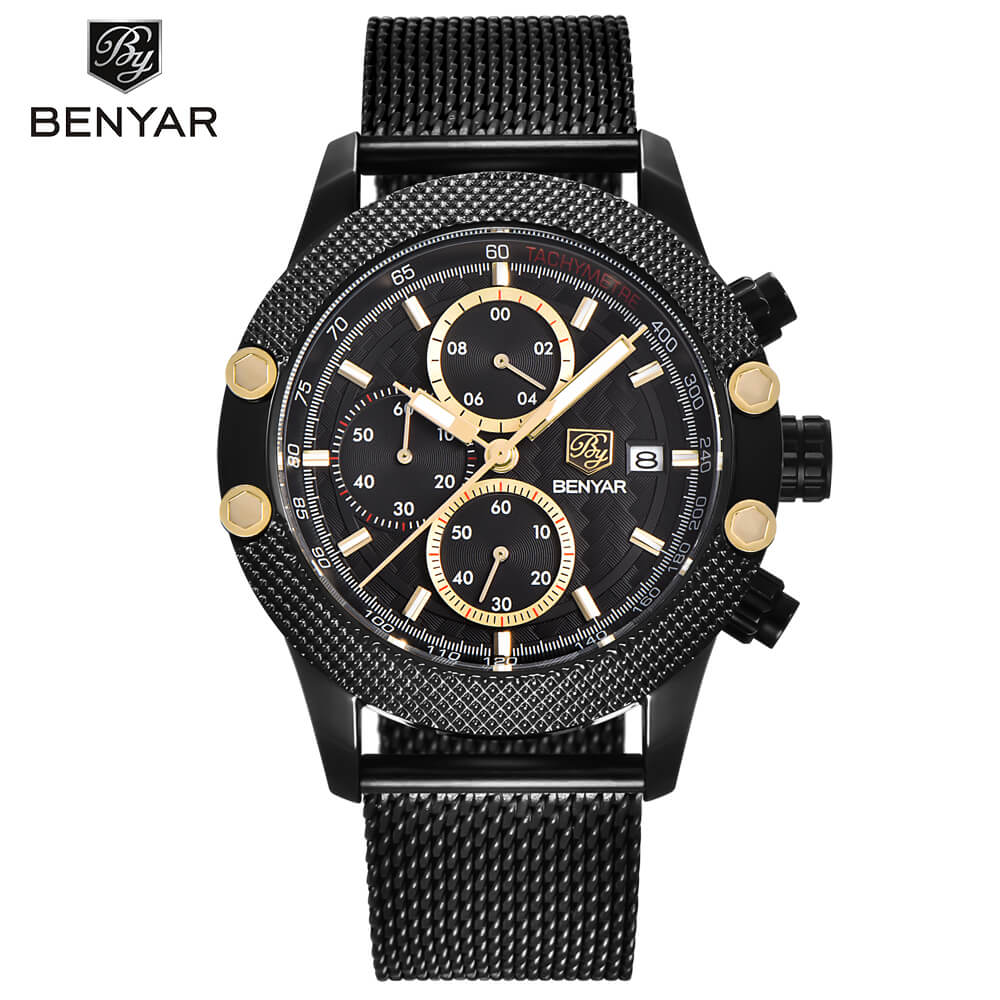 Benyar Chronograph Water and Shock Resistent Fashion Watch - RHIZMALL.PK Online Shopping Store.