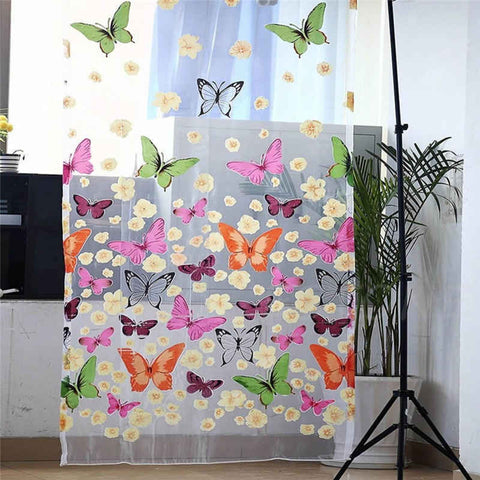 Butterfly Print  Window Panel Curtains New for living room bedroom - RHIZMALL.PK Online Shopping Store.