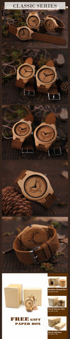 BOBO BIRD Men's Bamboo Wooden Watch with Real Leather Strap - RHIZMALL.PK Online Shopping Store.