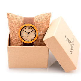 Bamboo Wood Wristwatch Female Clock Lady Quartz-watch - RHIZMALL.PK Online Shopping Store.
