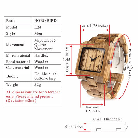 BOBO BIRD Rectangle Men Wooden Wrist Watch in Wooden Gift Box - RHIZMALL.PK Online Shopping Store.