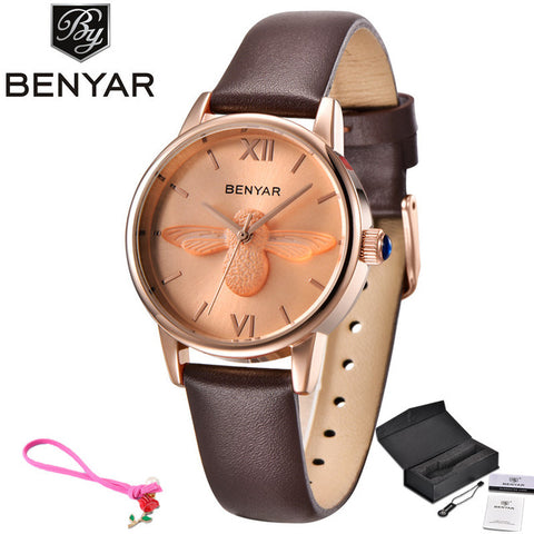 Benyar Luxury Brand 3D Bee Gold Bracelet Watch - RHIZMALL.PK Online Shopping Store.