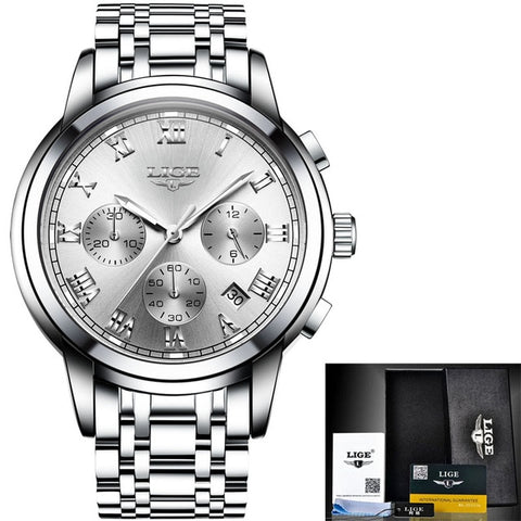 Luxury Brand LIGE Chronograph Men Sports Watch - RHIZMALL.PK Online Shopping Store.