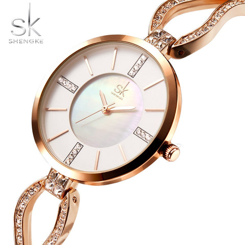 ShengkeBrand Women Diamond Dial Bracelet Wristwatch - RHIZMALL.PK Online Shopping Store.