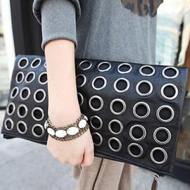 Fashion Style PU Leather Handbag Famous Brand Retro Rivet Tote - RHIZMALL.PK Online Shopping Store.