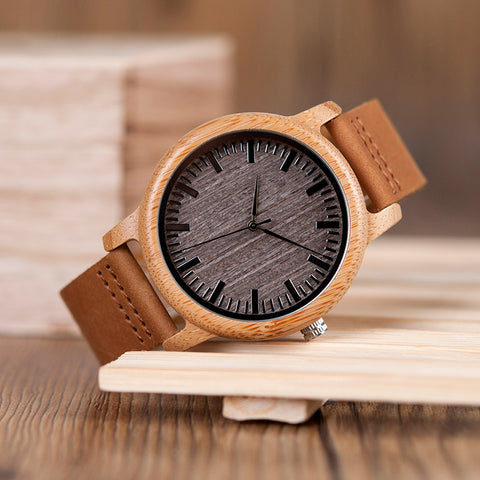 BOBO BIRD Vintage Lightweight Round Bamboo Wood Watch for Men - RHIZMALL.PK Online Shopping Store.