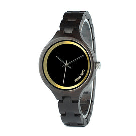 Classic Black Dial Ladies Quartz Dress Watch in Wooden Box - RHIZMALL.PK Online Shopping Store.