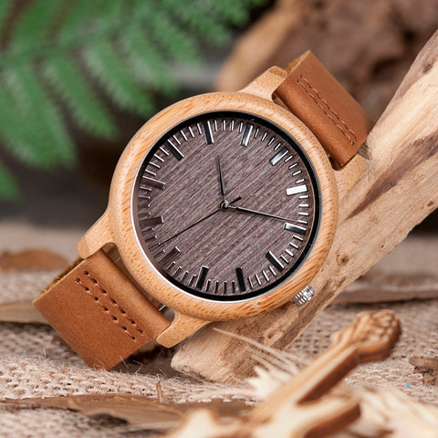 BOBO BIRD Top Brand Casual Bamboo Quartz Watch for Men - RHIZMALL.PK Online Shopping Store.