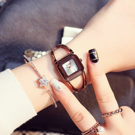 Square Fashion Skeleton Bracelet  Female Watch - RHIZMALL.PK Online Shopping Store.