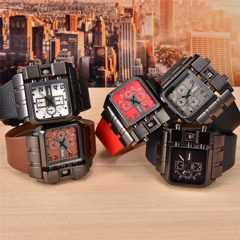 Oulm Big Size Square Dial Quartz Watch - RHIZMALL.PK Online Shopping Store.
