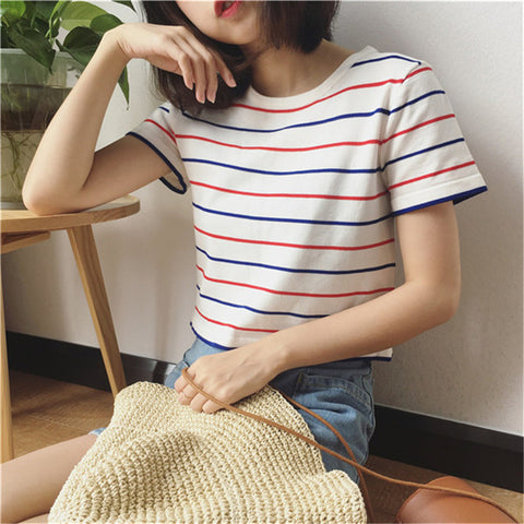 Summer New Striped Short T-Shirt - RHIZMALL.PK Online Shopping Store.