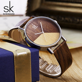 Wood Leather Watch For Girl - RHIZMALL.PK Online Shopping Store.
