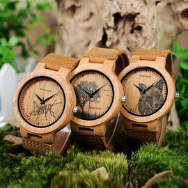 BOBO BIRD Men Bamboo Wood Watch with Image Printing - RHIZMALL.PK Online Shopping Store.