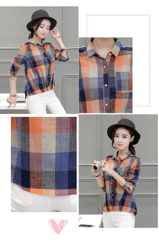 Female Casual Linen Cotton Long Sleeve Plaid Shirt - RHIZMALL.PK Online Shopping Store.