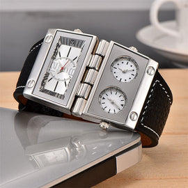 Oulm Rectangle Big Dial Three Time Zone Watch
