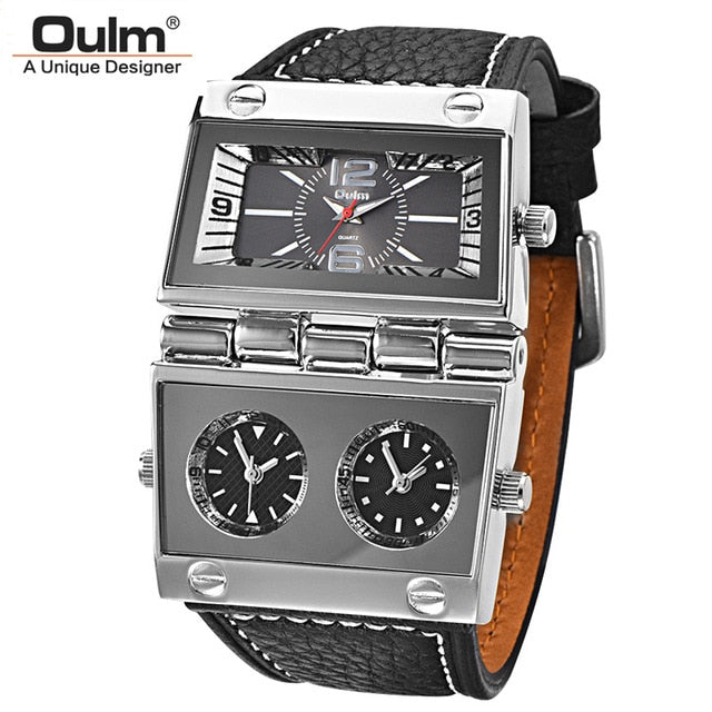 Oulm Rectangle Big Dial Three Time Zone Watch - RHIZMALL.PK Online Shopping Store.