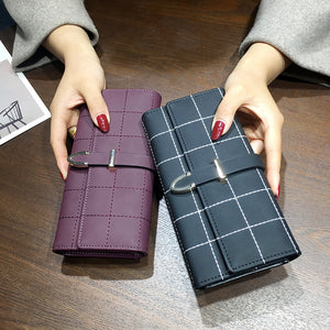 AOEO Women Wallets Long With Plaid PU Leather - RHIZMALL.PK Online Shopping Store.