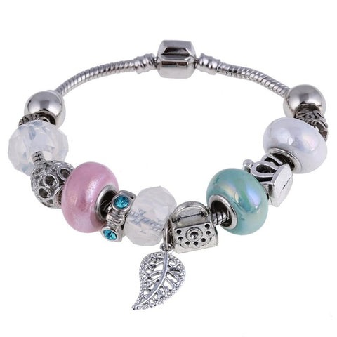 ZOSHI Pink Crystal Charm Silver Bracelets & Bangles for Women - RHIZMALL.PK Online Shopping Store.