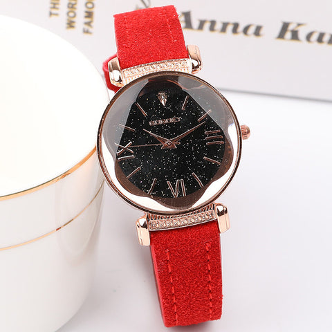 Rose Gold Star Dial Design Leather Strap Quartz Watch - RHIZMALL.PK Online Shopping Store.