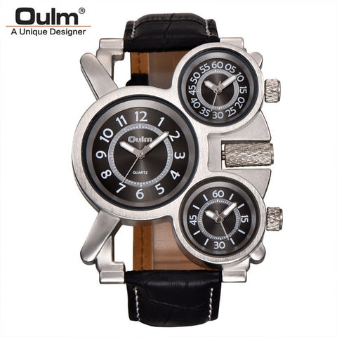 OULM  3 Time Zone Japan Vintage Watch - RHIZMALL.PK Online Shopping Store.
