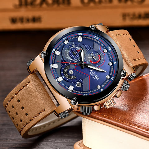 LIGE Leather Automatic date Watch - RHIZMALL.PK Online Shopping Store.