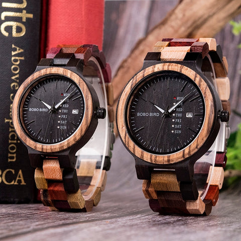 BOBO BIRD Antique Mens Wood Watches with MultiColor Wooden Band - RHIZMALL.PK Online Shopping Store.