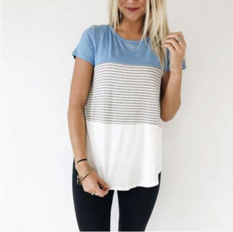 O-Neck Short Sleeve Striped T shirt - RHIZMALL.PK Online Shopping Store.