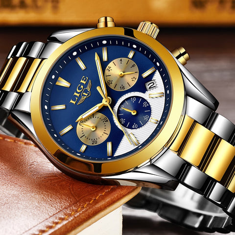 2018 New LIGE Mens Full steel Sport Watch - RHIZMALL.PK Online Shopping Store.