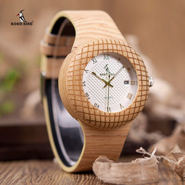 BOBO BIRD Wooden Timepieces Leather Band Wristwatch - RHIZMALL.PK Online Shopping Store.