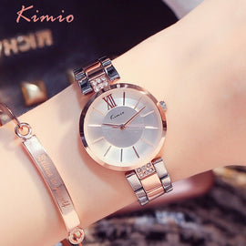KIMIO Thin Clock Women Fashion Simple Watch - RHIZMALL.PK Online Shopping Store.