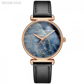 Rose Golden Case Navy Blue Dial Black Leather Strap Watch - RHIZMALL.PK Online Shopping Store.