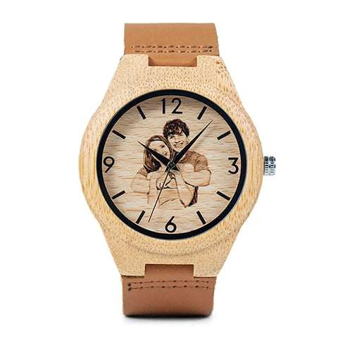 BOBO BIRD Customized Photo on Dial Wood Watch for Men & Women - Ideal for Gift - RHIZMALL.PK Online Shopping Store.
