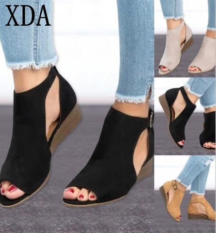 2018 Woman Wedge Buckles Fish Mouth Sandals - RHIZMALL.PK Online Shopping Store.
