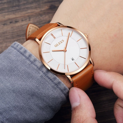 Ultra thin Luxury Genuine Leather Waterproof Wristwatch - RHIZMALL.PK Online Shopping Store.