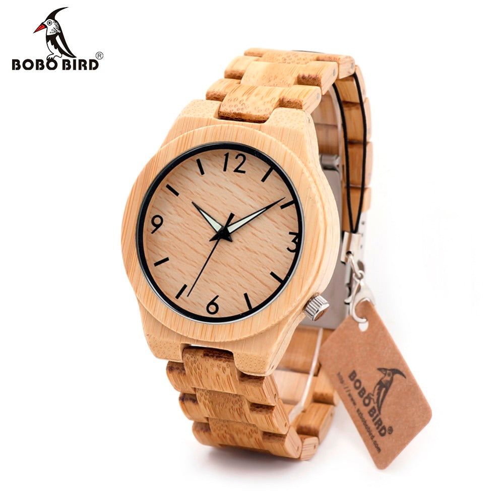 BOBO BIRD Luminous Hand Natural All Bamboo Wood Watch For Gift - RHIZMALL.PK Online Shopping Store.