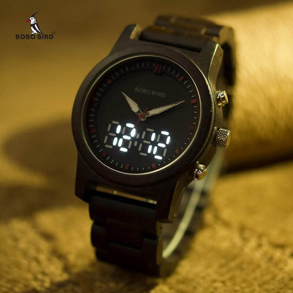 BOBO BIRD LED Digital Quartz Double Display Wood Watch for Men & Women - RHIZMALL.PK Online Shopping Store.