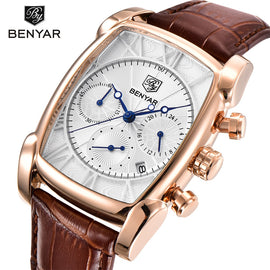 BENYAR Classic Rectangle Case Fashion Sport Chronograph Men's Watch - RHIZMALL.PK Online Shopping Store.