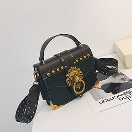 Lion Head Lock PU Leather Messenger Crossbody Bag - RHIZMALL.PK Online Shopping Store.