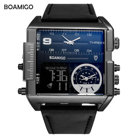 BOAMIGO all Brand 3 Time Big Dial Fashion Watch - RHIZMALL.PK Online Shopping Store.