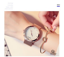 Rose Gold Diamond Women's Watch - RHIZMALL.PK Online Shopping Store.