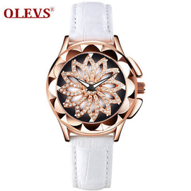 360-degree Rotating Dial Rose Gold Leather Waterproof Watch - RHIZMALL.PK Online Shopping Store.