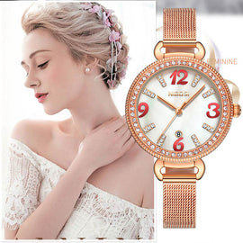 NIBOSI Rose Gold Quartz Clock Women Watch - RHIZMALL.PK Online Shopping Store.