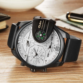 Oulm Leather Strap Compass Military Watch