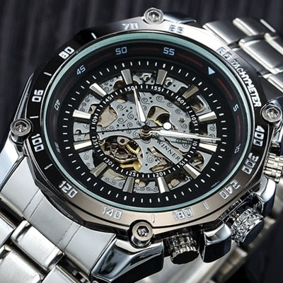 Mechanical Skeleton Shock Resistant Self-winding Man Automatic Watch - RHIZMALL.PK Online Shopping Store.