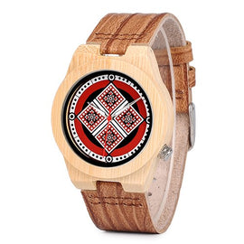 BOBO BIRD Fashionable Retro Design Printing Patte Dial Leather Strap Watch - RHIZMALL.PK Online Shopping Store.