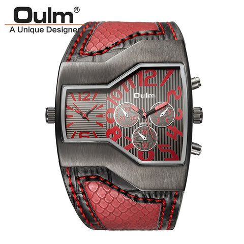 Oulm Sport Brand 2 Time Zone Leather watch - RHIZMALL.PK Online Shopping Store.