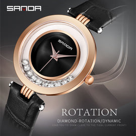 2018 SANDA Simple Rhinestone Watches Women Fashion Dress Ladies - RHIZMALL.PK Online Shopping Store.
