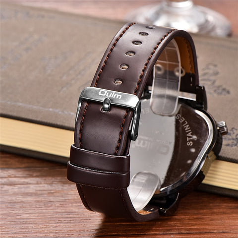 OULM Steel Case Dual Time PU Leather Watch